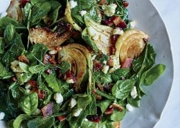 Spinach, Fennel and Candied Bacon Salad + A151208 + Mastering My Mistakes: Dana Cowin with Alex Guarnaschelli + Food & Wine + April 2016